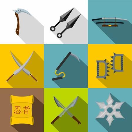 忍者ツール アイコン セット、フラット スタイル  イラスト・ベクター素材