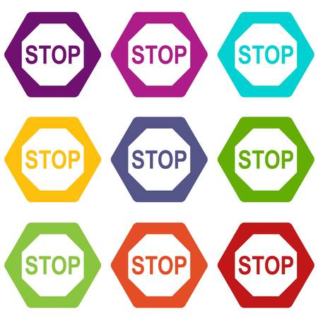 danger ahead: Stop sign icon set color hexahedron Illustration