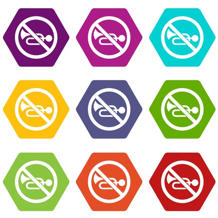 silent: No horn traffic sign icon set color hexahedron