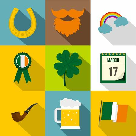 Saint Patrick day icon set, flat style