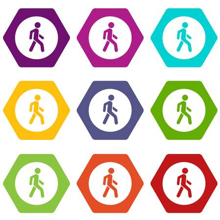 Pedestrians only road sign icon set color hexahedron