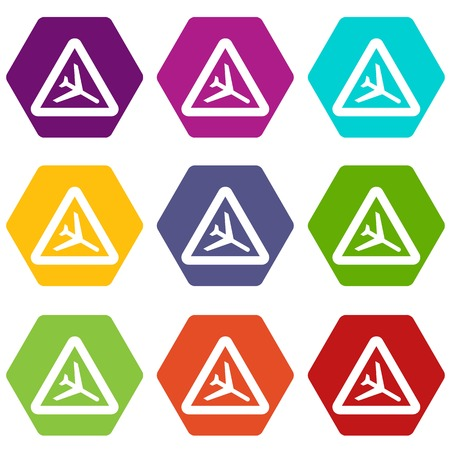 Warning sign of low flying aircraft icon set color hexahedron