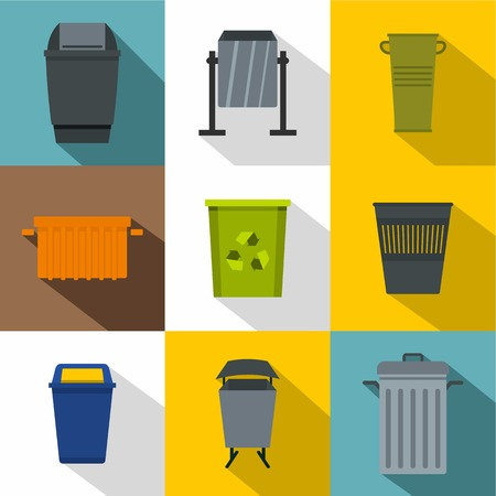 radioactive sign: Garbage container icon set, flat style