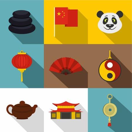 China travel icon set, flat style Illustration