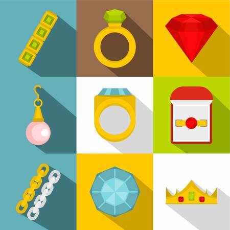 Set of jewelry icon set in flat style