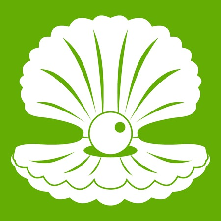 Pearl in a shell icon green