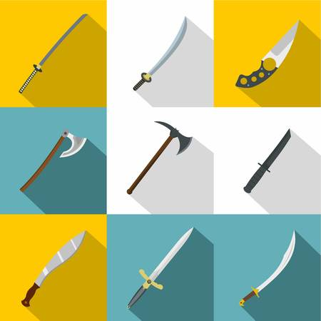 Bladed weapon icon set, flat style