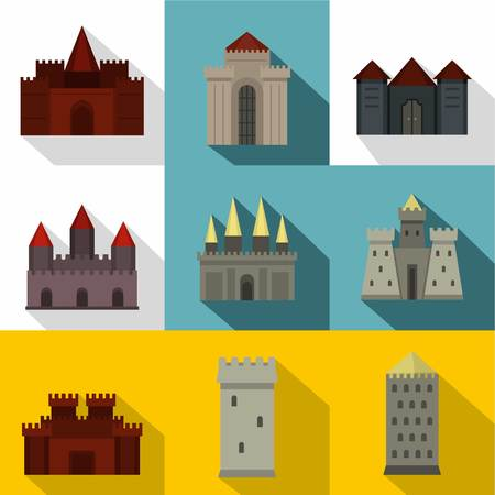 Medieval castles icon set, flat style vector illustration.