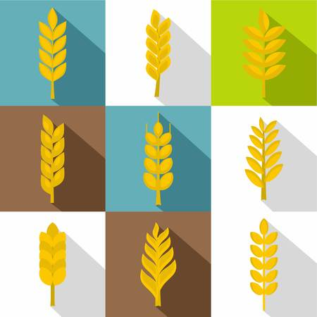 Wheat ears icon set, flat style