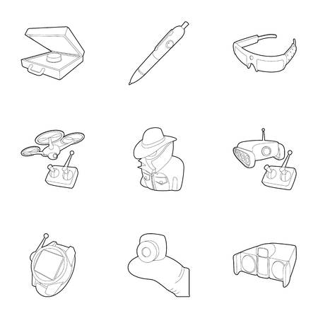 top gun: Fbi icons set, outline style