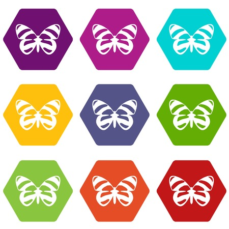 butterfly isolated: Butterfly icon set color hexahedron Illustration