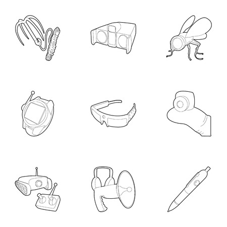 top gun: Spy equipment icons set, outline style