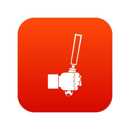 Chisel tool in man hend icon digital red