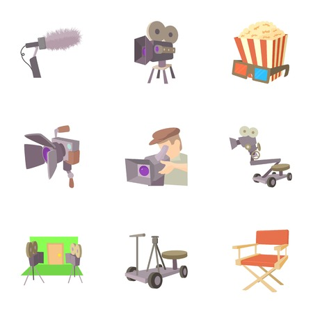 hollywood star: Filming location icons set, cartoon style Illustration