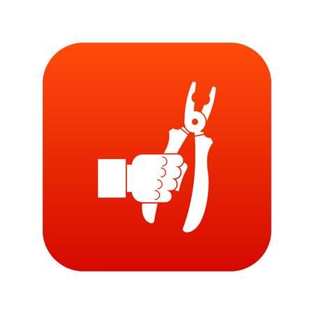 Hand holding chisel icon digital red Illustration