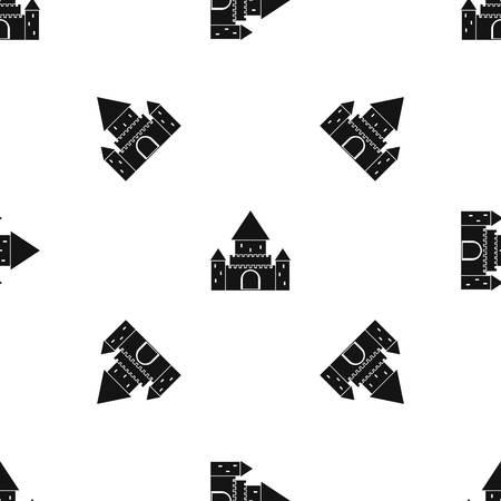 Chillon Castle, Suisse motif sans couture en noir Banque d'images - 85075720