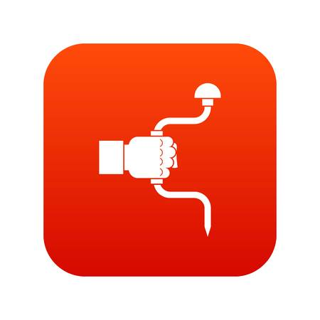 Vintage hand drill in man hand icon digital red