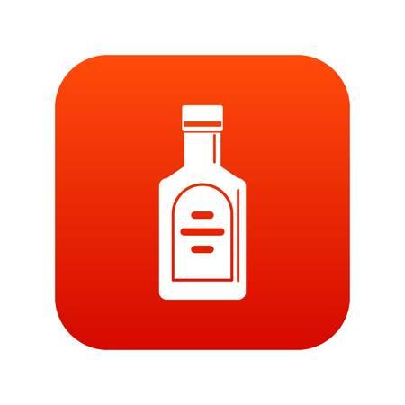 bourbon: Bottle of whiskey icon digital red