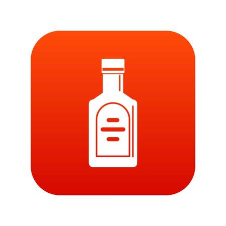 Bottle of whiskey icon digital red