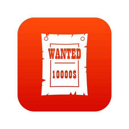 Vintage wanted poster icon digital red