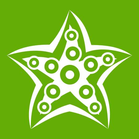 mollusc: Starfish icon green Illustration