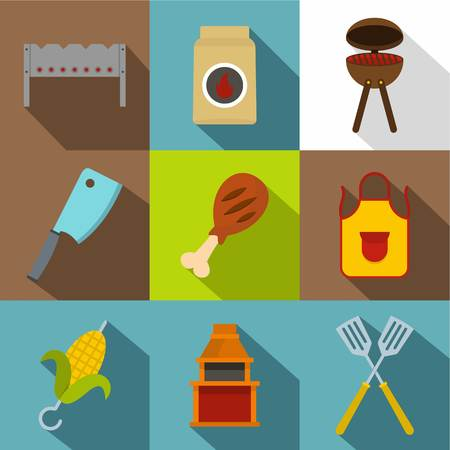 hot dog: Cooking on fire icon set, flat style