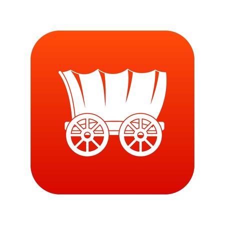 Oude westerse wagen pictogram digitaal rood Vector Illustratie