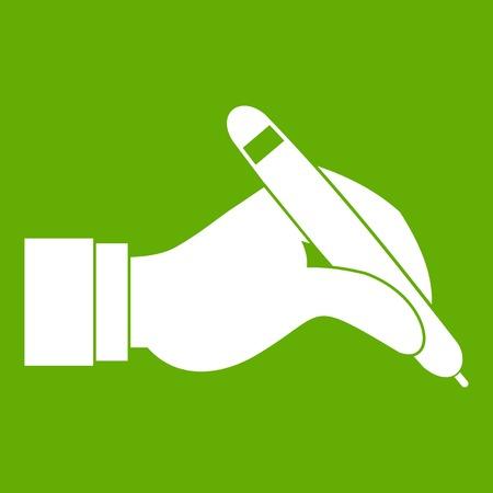 ball pens stationery: Mano que sostiene el icono negro de la pluma verde