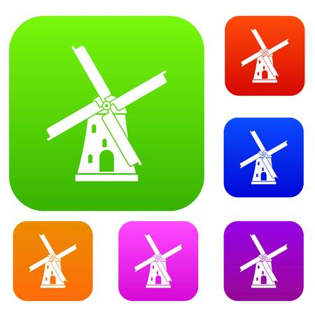 Ancient windmill set collection Illustration