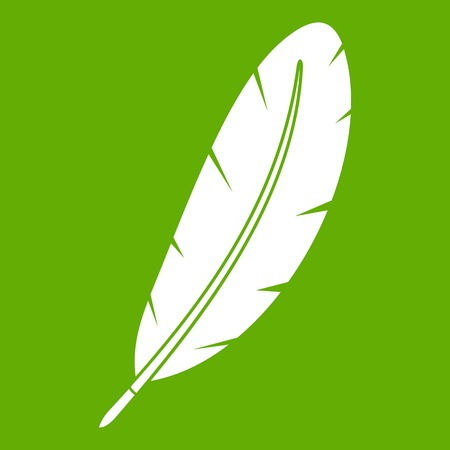 Feather pen icon green Illustration