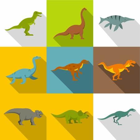 Dinosaur icon set, flat style