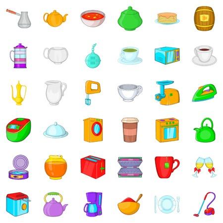 Gebruiksvoorwerpen iconen set, cartoon stijl
