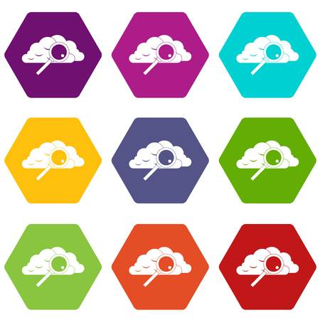 Cloud with magnifying glass icon set color hexahedron Ilustrace