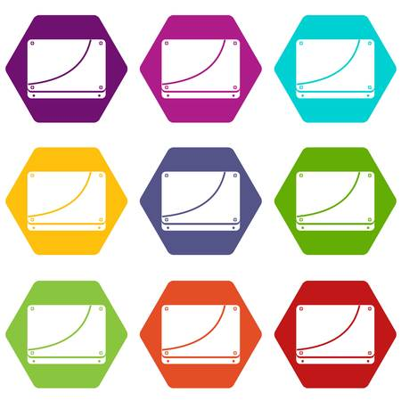 Database icon set color hexahedron