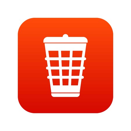 Trash can icon digital red vector illustration.