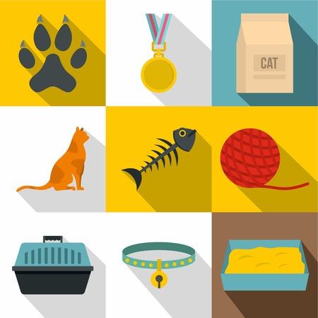 Cat icon set, flat style vector illustration. Illustration