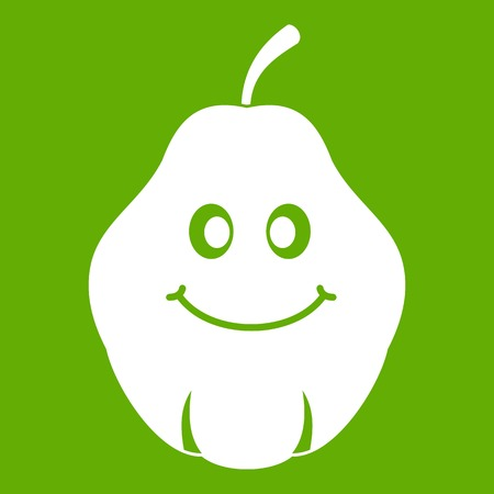 Smiling quince fruit icon green Illustration