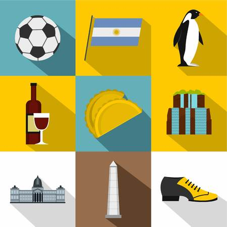 Tourism in Argentina icon set, flat style