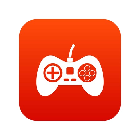 Video game console controller icon digital red Illustration