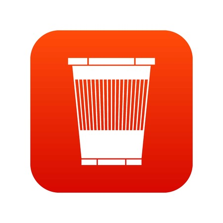 Trash can icon isolated on digital red background