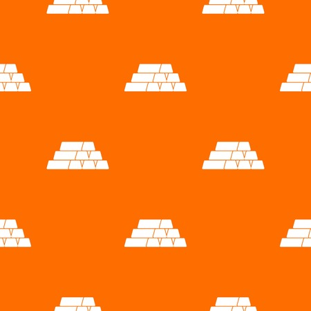 Gold bars in white illustration pattern seamless design on an orange background