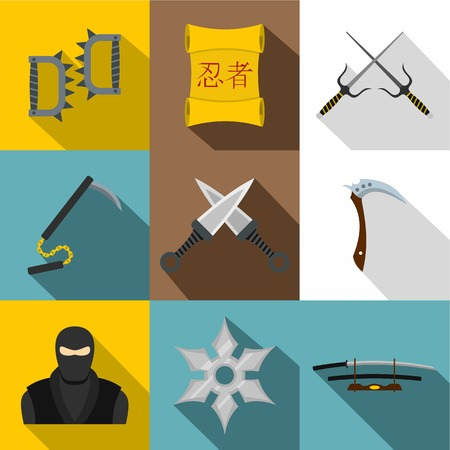 忍者の武器コレクション アイコン フラット スタイルの設定