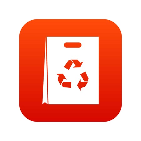 Red silhouette design of recycling icon on a white Package isolated on digital red