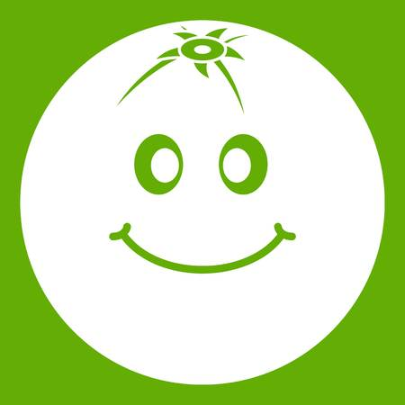 An abstract emoticon cartoon design of a smiling fruit icon isolated on green