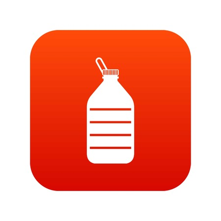 Large bottle of water icon, digital in red