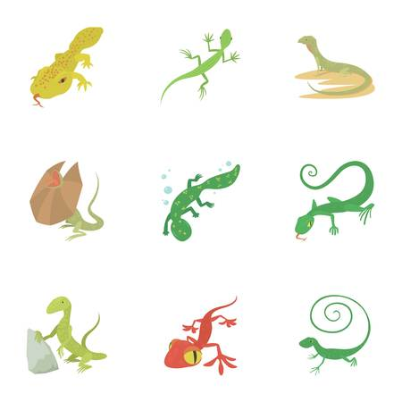 Reptile icons set cartoon style Illustration