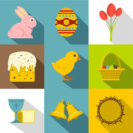 Easter day icon set in flat style Illustration