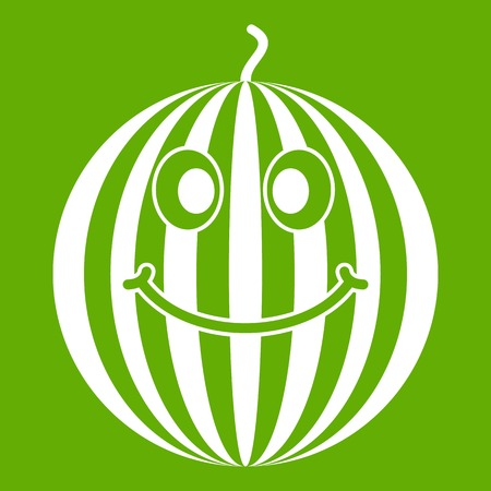 Ripe smiling watermelon icon in green Illustration