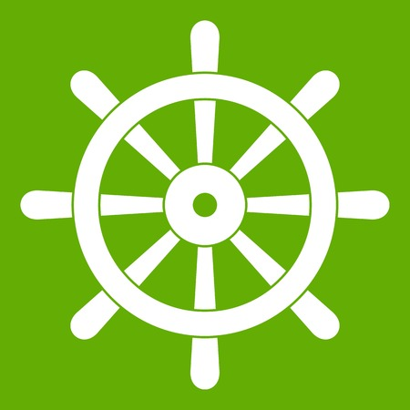 Wooden ship wheel icon in green Illustration