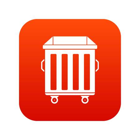 Dumpster on wheels icon digital red Illustration